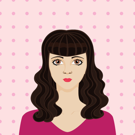rockabilly: Portrait of rockabilly girl with long dark hair Illustration