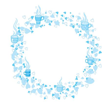 Frame van de cirkel van de thee en hart