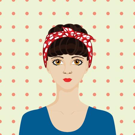 rockabilly: Portrait of rockabilly girl with dark hair