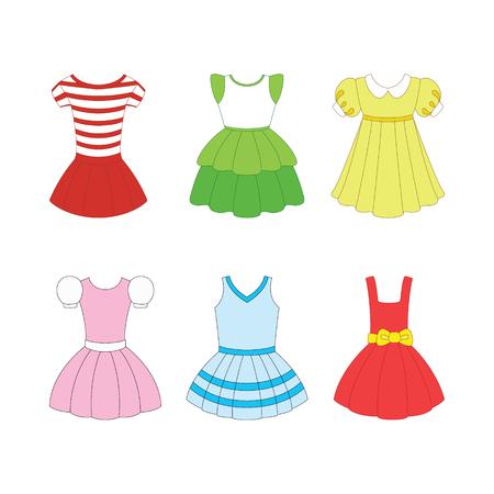set of dresses for girls on white background Vector Illustration