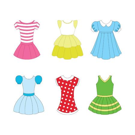 enfant maillot de bain: ensemble de robes pour les filles sur fond blanc Illustration