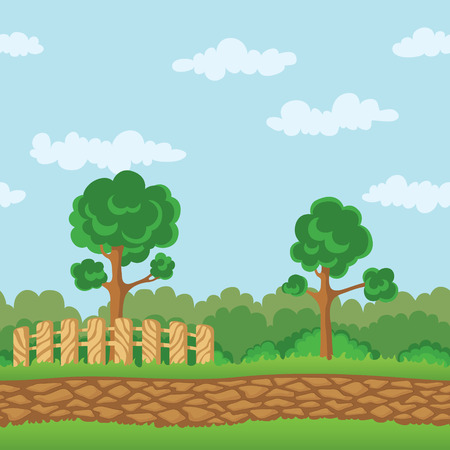 Seamless Horizontal Landscape Background With Grass Road Fence