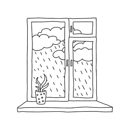 rain window: rain outside the window