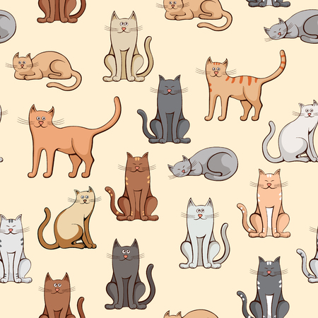 meow: various cats seamless pattern