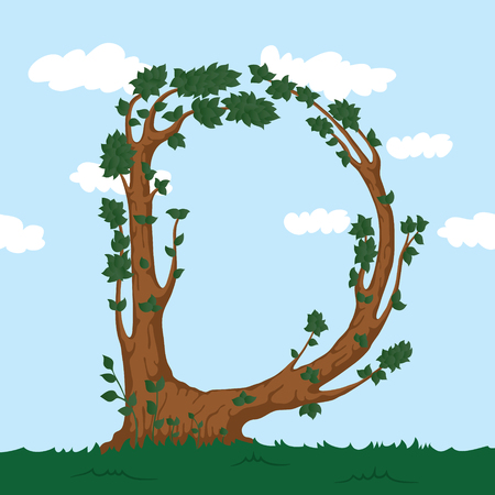 alphabet tree: Forest alphabet. Illustration The letter D from a tree.