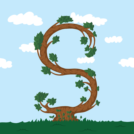 alphabet tree: Forest alphabet. Illustration The letter S from a tree.