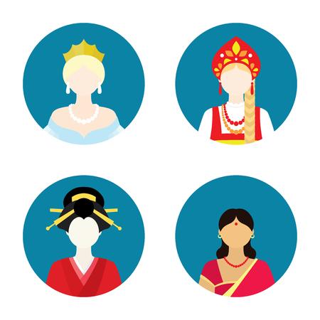 french ethnicity: flat women historical set