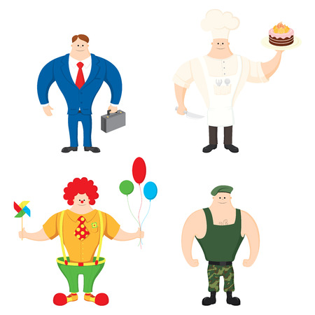 diferentes profesiones: set people of different professions on white background Vectores