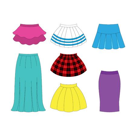 skirts: set of skirts for girls on white background Illustration