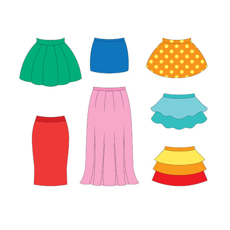 set of skirts for girls on white background Vectores