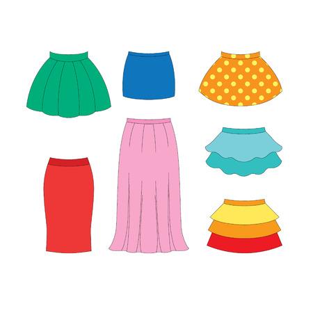 set of skirts for girls on white background Illustration