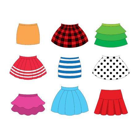 set of skirts for girls on white background Illustration