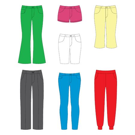 pom pom: set of pants for girls on white background