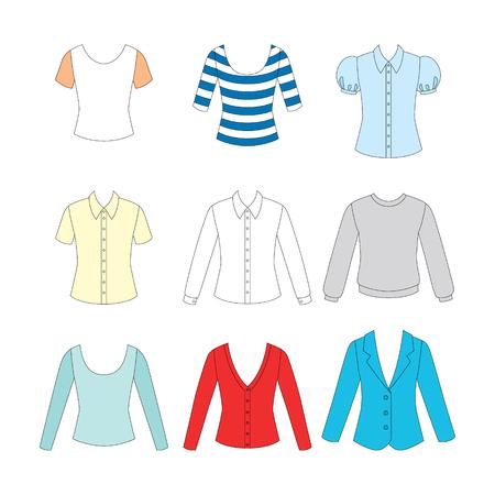 waistcoat: set of clothes for girls on white background Illustration