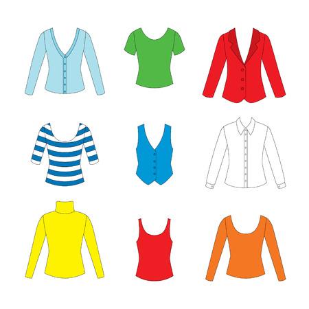 set of clothes for girls on white background Illustration