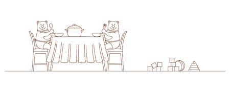 Bears eat sitting at the table Ilustração
