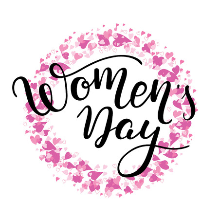 Hand Womens Day lettering with hearts. International Womens Day. Template greeting card, poster. Illustration