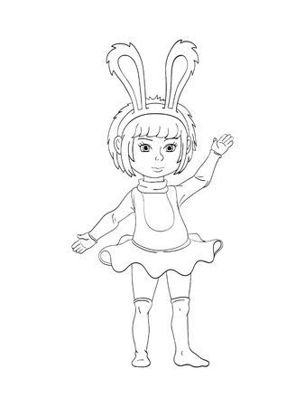 Black and white illustration. Girl in a rabbit costume. Outline coloring on white background. Illustration