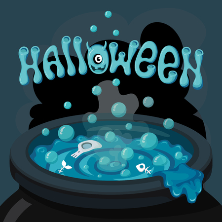 boiler: Halloween illustration, witches cauldron with the magic potion. Illustration