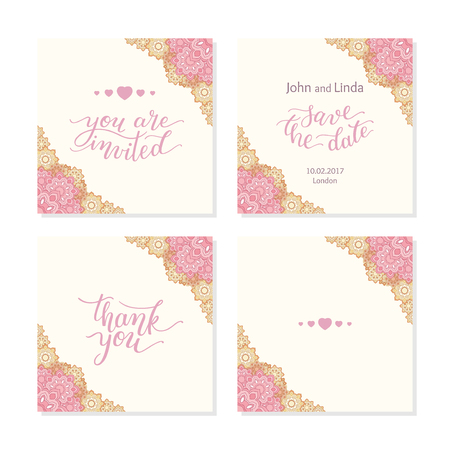 Wedding set template with flowers and hand lettering. You are invited, thank you, save the date.