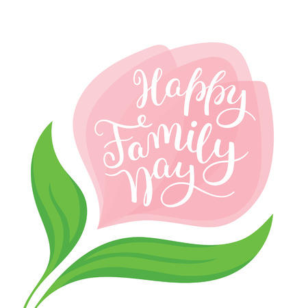 Happy Family Day hand lettering. Template for card, poster, print. Çizim