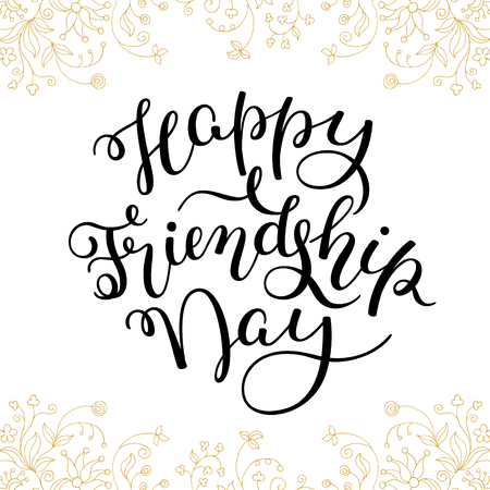 Hand Lettering Happy Friendship Day Template For Card Poster