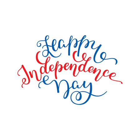 Happy Independence Day hand lettering. Template for card, poster, print.