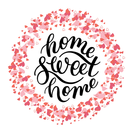 home Sweet home - hand lettering with heart. Template for greeting cards, posters, print. Illustration