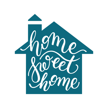 home Sweet home hand lettering. Template for card, poster, print. Illustration