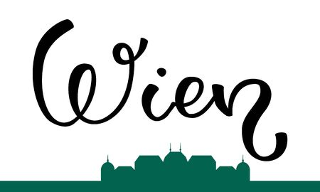 Hand lettering Vienna and the silhouette of the palace. Template for card, poster, print.