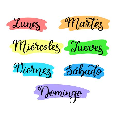 Lettering in spanish, days of the week - Monday, Tuesday, Wednesday, Thursday, Friday, Saturday, Sunday. Handwritten words for calendar, weekly plan, organizer.