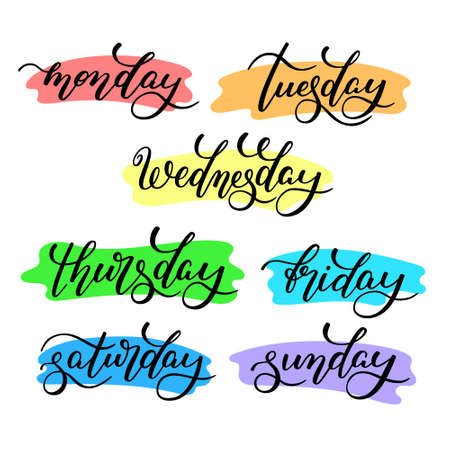 Lettering days of the week - Monday, Tuesday, Wednesday, Thursday, Friday, Saturday, Sunday. Handwritten words for calendar, weekly plan, organizer.