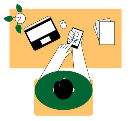 Online voting. Man makes a choice at work. Flat illustration.
