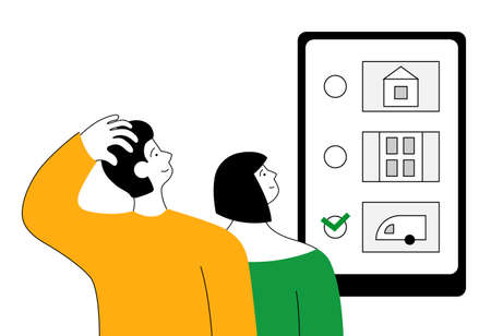 Online voting. A young family makes a choice. Flat illustration.