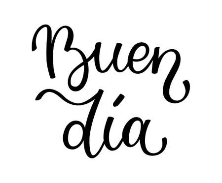 Hand lettering Good day. Spanish letters. Template for card, poster, print. Vector Illustratie