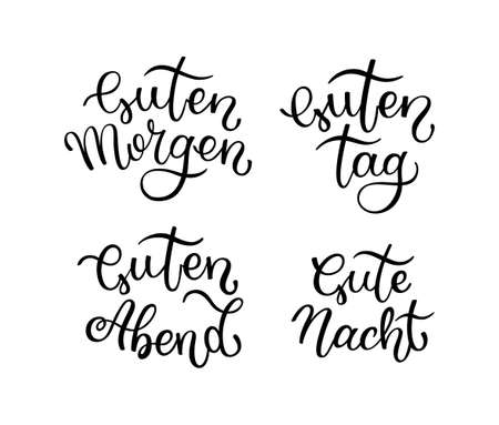 Hand lettering Good morning, Good day, Good evening, Good night. German letters.  イラスト・ベクター素材