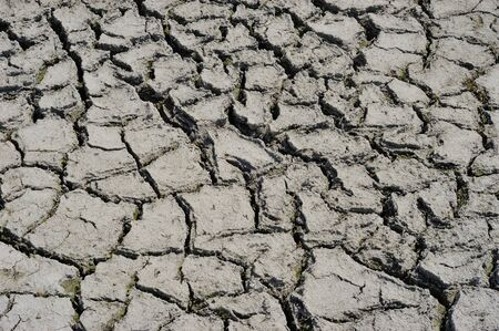 Part of a huge area dried land suffering from drought - in cracks. Dry water reservoir. Natural drought concept: dried cracked earth soil ground texture background. Rough land dry crack erosion in the ground. Dry clay soil texture, natural floor background.