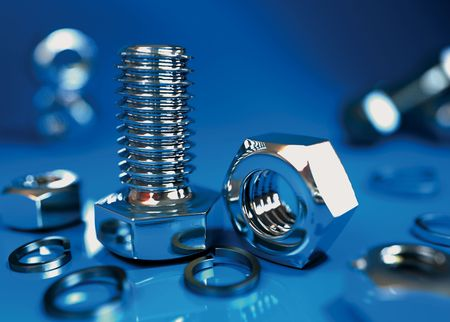 fastening objects: Bolts and nuts blue background