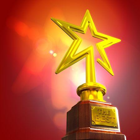 trofeo: Premio estrella contra el fondo degradado de resplandor