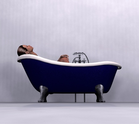spacious: A woman having bath in a blue vintage clawfoot bathtub. Stock Photo
