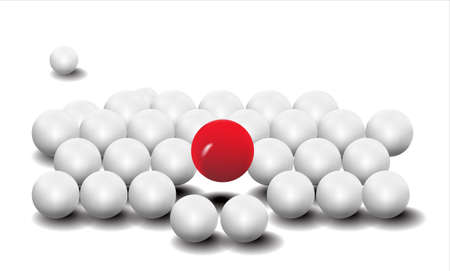 Dimensional of white and red ball Stock Photo
