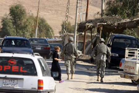 MAXMUR CITY, IRAQ-JANUARY 26: USA soldier stand guard at a check point on January 26, 2007 in Maxmur, Iraq Editorial