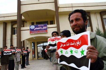 politican: KIRKUK, IRAQ -FEBRUARY 3 :Arab parties are doing a press release to protest connecting Kirkuk to Kurdistan region on February 3, 2007 in Kirkuk,Iraq.