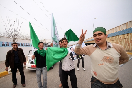 Election campaign convoy during 2010 elections, in Kurdistan, Iraq