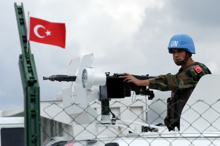 tyr: TYR, LEBANON-OCTOBER 21: Turkish UN vehicle on patrol on October 21, 2006 in Tyr, Lebanon                            Editorial