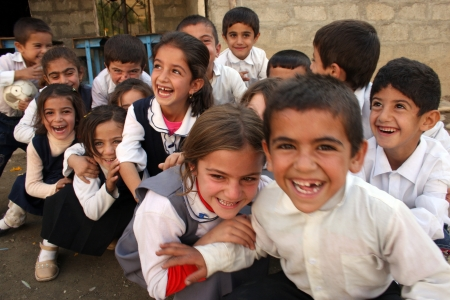 Kandil mountains of school children in the village of Kurdish,Kurdistan,ıraq. Editorial