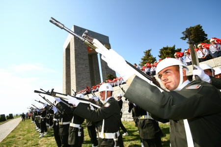 Turkish armed guard attends commemoration ceremony of the battle of Gallipoli on February 11, 2011 in Canakkale, Turkey Editorial