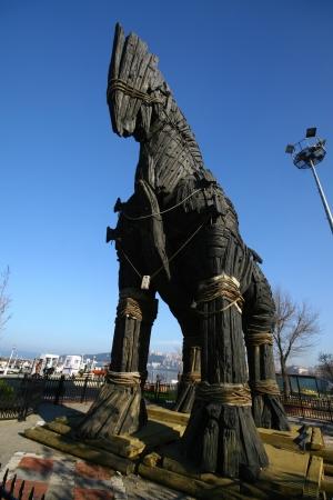 cavallo di troia: Cavallo di Troia a Canakkale Square, Turchia Archivio Fotografico