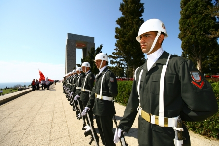CANAKKALE, TURKEY - FEBRUARY 11  Unidentified Turkish armed guard attends commemoration ceremony of the battle of Gallipoli on February 11, 2011 in Canakkale, Turkey