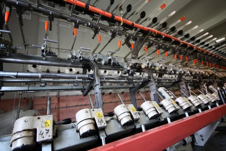 Textile industry  denim  - Weaving and warping Stock Photo - 16780383